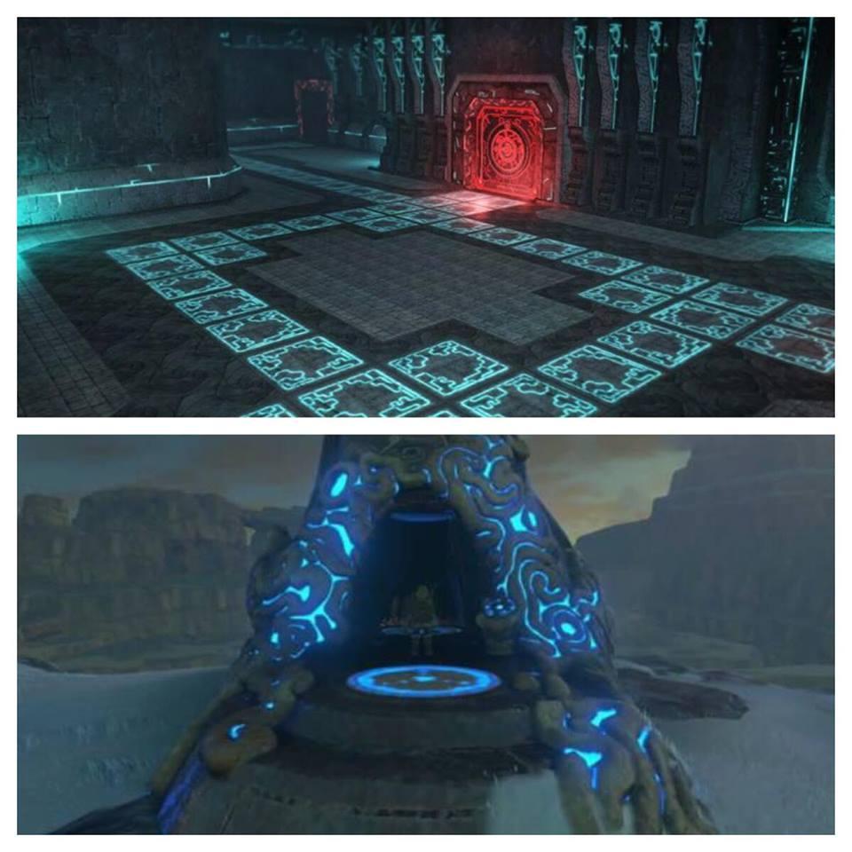 A arquitetura do povo Twili é famosa pelo uso de linhas luminosas, que esta presente no novo jogo como pode ser visto na entrada dessa dungeon que também tem o simbolo dos Sheikah (no painel). Seria o sinal de uma possivel cooperação?